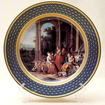 Большое Коллекционное Блюдо - Тарелка «Отдых после Охоты» Фарфор KAISER Германия.