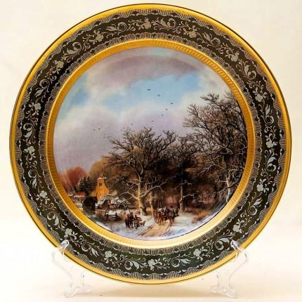 Большое Коллекционное Блюдо - Тарелка «Зимний пейзаж» Фарфор KAISER Германия.
