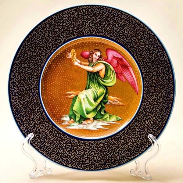 Коллекционная Тарелка «Ангел играющий на бубне». Фарфор, Германия, KPM Berlin -1997 год.