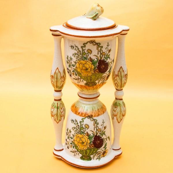 Декоративная Фигурная Ваза «Цветочные Часы» Н-16 см. Майолика Португалия.