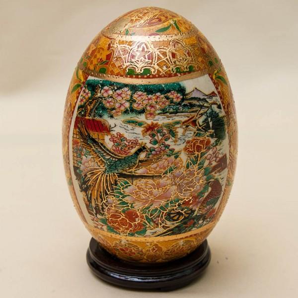 Декоративное Винтажное Яйцо «Райская Птица» в технике Мориаж Фарфор Китай, SATSUMA -50 гг.