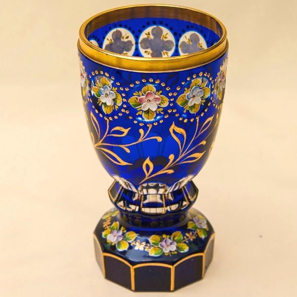 Коллекционная Ваза - Кубок, Цветочная Эмалевая роспись, Хрусталь Witti,  Германия 60-е годы ХХ века.