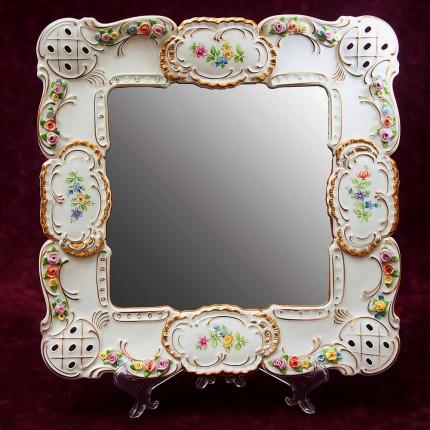 Настенное Фарфоровое Зеркало 37,5 см. х 36 см. LINDNER Kups Bavaria, Германия 60гг.