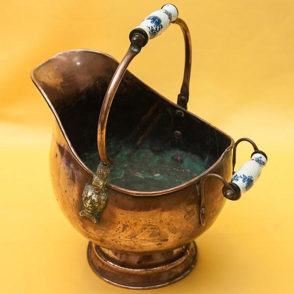 Винтажный Зольник с Фарфоровыми ручками Кашпо Медь Англия середина ХХ века!