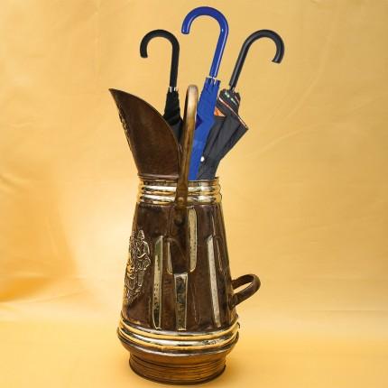 Винтажный Латунный Высокий Зольник «Застолье» или Подставка для зонтов и тростей Бельгия.